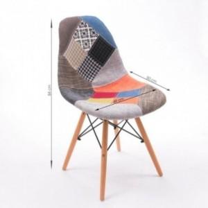 Pack de 2/4 unidades de Sillas de comedor COOL tapizadas en tela patchwork inspiración silla Tower de Eames