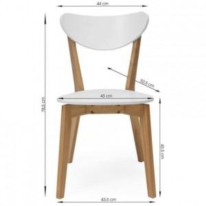 Pack de 4 sillas de comedor MELAKA madera de roble y lacado blanco mate