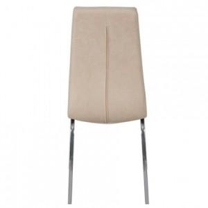 Silla de comedor SALOMÉ tapizada en tela y patas de metal cromadas