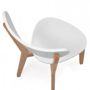 Pack de 2 sillas de comedor de diseño nórdico MELAKA madera de roble y MDF lacado blanco mate