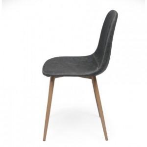Pack de 4 sillas de comedor CAIRO ANTIQUE tapizadas en polipiel y patas de metal símil madera
