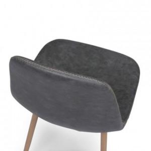 Silla de comedor CAIRO ANTIQUE tapizada en polipiel y patas de metal símil madera