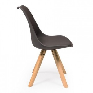 Silla de comedor de diseño nórdico EVA asiento de polipropileno patas madera de haya